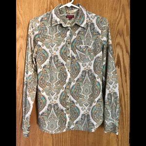 Merona Long Sleeved Paisley Blouse.  Size XS
